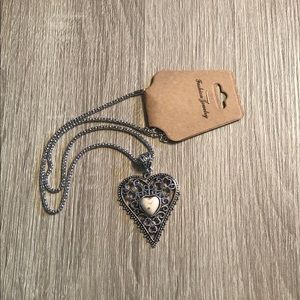 Silver heart necklace with white stone